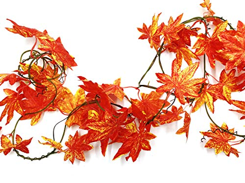 CODE FLORIST Fall Artificial Maple Leaf Wired Garland for Thanksgiving,Weddings Decorations,Festival Events,106 Inch Long Silk Flower Arrangements