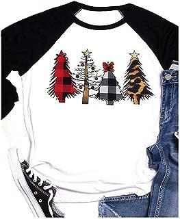 Women Christmas Trees Leopard Plaid Patchwork Print Baseball T Shirt Raglan Tees 3/4 Sleeve Tops Blouses