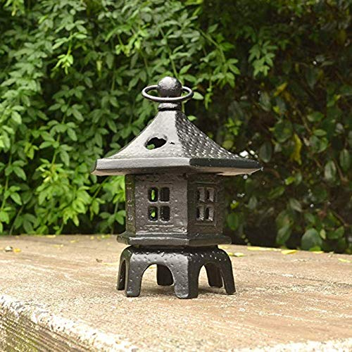 Lámpara De Piedra De Velas Japonesas Jardín Esculturas De Cuatro Esquinas Luces Estatua Decoración De La Lámpara 15 * 19cm