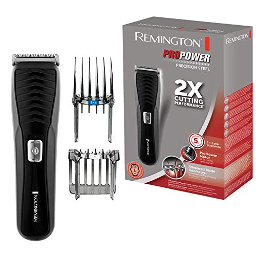 Remington Pro Power Precision Steel HC7110 - Máquina de Cortar Pelo, Cuchillas de Titanio, Recargable, Negro