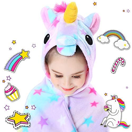 CozyBomB Rainbow Unicorns Gifts for Girls - Wearable Fleece Soft Throw Blanket for Kids Girl - Cute Hooded Plush Bathrobe Cozy Wrap with Hood Sleep Age 3 4 5 6 Year Old Christmas (Star)