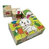 PROW Madera 6 Granja Animal Puzzle Puzzles en 3D Cubos Educación Preescolar Juguetes Chico Chica Espacio de Entrenamiento Habilidad Medio Ambiente Juguetes Bloques de construcción Puzzle 9 pcs