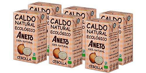 Aneto 100% Natural - Caldo de Cebolla Ecológica - caja de 6 unidades de 1 litro