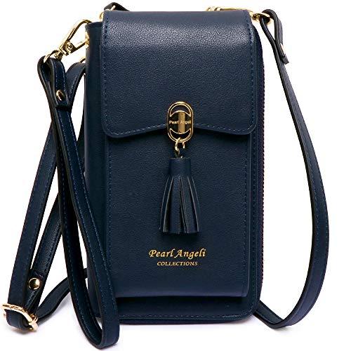 Pearl Angeli Damen Handy Umhängetasche, Handytasche zum Umhängen Geldbörse, 11 Kartenfächer Brieftasche Schultergurt, PU Leder Handygeldbörse Crossbody, Handy unter 6,5 Zoll (blau)