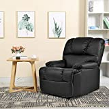 Massage Recliner Chair with Heat and Vibrating, Gentleshower Full Body Leather Massage Chair with Control Sofa Chair Recliner for Living Room Black