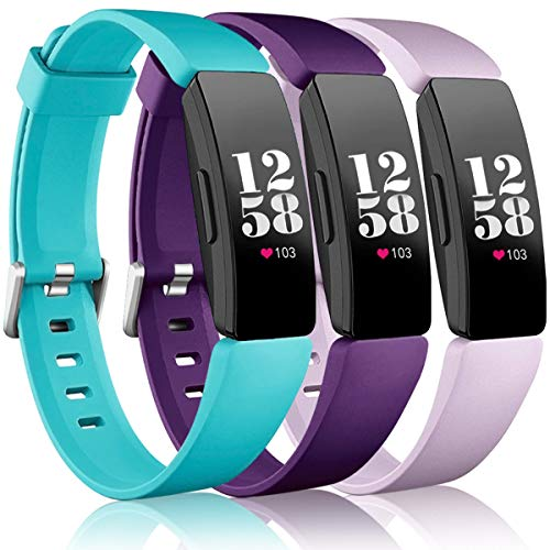Wepro Bands Compatible Fitbit Inspire HR/Inspire/Inspire 2/Ace 2 for Women Men, Small, Replacement Wristband Sports Strap Band for Fitbit Ace 2 & Inspire Fitness Tracker, Teal, Plum, Lilac