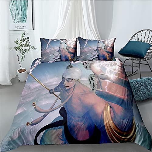 Juego de ropa de cama Anime One Piece con impresión digital 3D, ropa de cama de 3 piezas, 100% suave y agradable, con dos fundas de almohada (estilo 01,135 x 200 cm/80 x 80 cm)