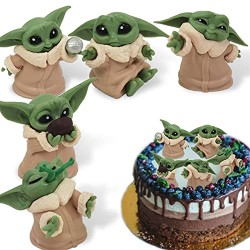 Yisscen Figuren Party Kuchen, 5 Stück Yoda Mini Figuren Set Cupcake Figuren Tortendeko, Gelten Mädchen/Junge Kindertag Cake Topper Figuren Geburtstags Party liefert Kuchendekoration