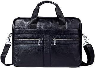 FYXKGLan Men's Business Genuine Leather Bag Large-Capacity Mens Handbag Shoulder Bag (Color : Black)