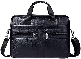Men's Business Genuine Leather Bag Large-Capacity Mens Handbag Shoulder Bag (Color : Black)