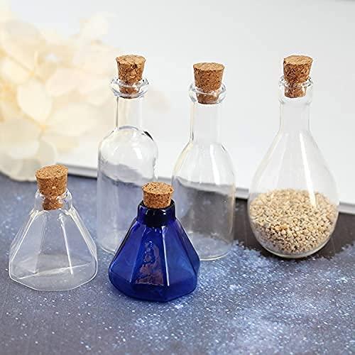 CJSZSD 5 uds Botella de Vidrio de Corcho Octogonal Corcho Mini Botellas de Deseos Collar Colgante hallazgos de joyería Hechos a Mano