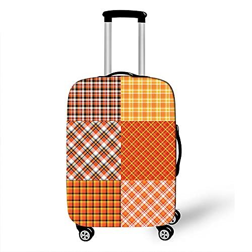 Morbuy 3D Cover Protettiva per Valigia Lavabile Elastica Suitcase Cover Proteggi Bagagli Luggage Cover Anti-Polvere Copri Valigia Custodia Protettiva da Viaggio (Arancia reticolata,L)