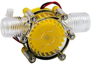 SGerste Yellow Translucent 12V/10W DC Water Flow Pump Generator Turbine Generator Hydroelectric Micro Hydro Generator Tap ...