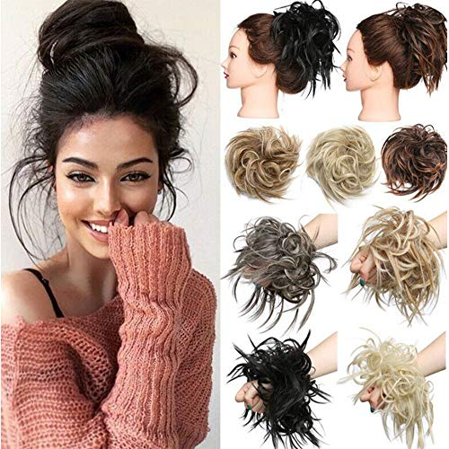 Messy Hair Bun Chignons Synthetic Hair Extensions Wavy Donut Updo Scrunchy Curly Hairpieces Messy Bun Hair Pieces for Women Rubber Band Elastic Scrunchie Chignon Grey