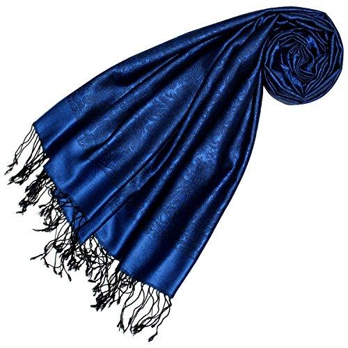 Lorenzo Cana Lorenzo Cana Luxus Damenschal Pashmina 70% Seide 30% Viskose mit Paisleymuster Schaltuch 70 cm x 190 cm zweifarbig Schal Stola Frauensschal Damentuch dunkelblau