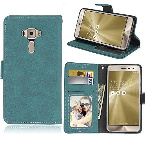 Funda Asus Zenfone 3 ZE520KL Case,Bookstyle 3 Card Slot PU Cuero cartera para TPU Silicone Case Cover(Azul)