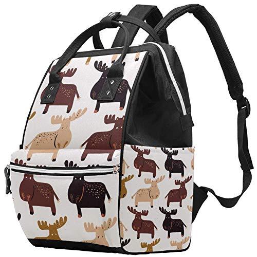 Dessin animé élan élans motif Nappy Changing Bag Diaper Sac à dos avec poches isolées, sangles de poussette, grande capacité multifonctionnel élégant sac à couches pour maman papa en plein air