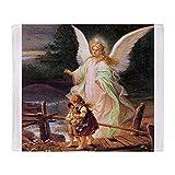 CafePress Guardian Angel with Children On Bridge Throw Blank Soft Fleece Throw Blanket, 50'x60' Stadium Blanket
