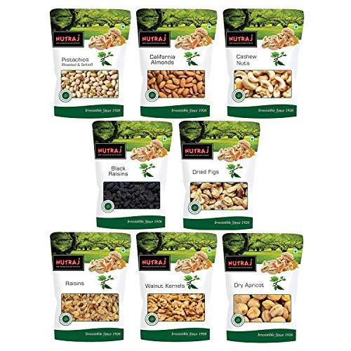Nutraj Mixed Dry Fruits Combo 800g (Almonds, Cashews, Pistachios, Black Raisins, Anjeer, Golden Raisins, Walnut Kernels, Dried...