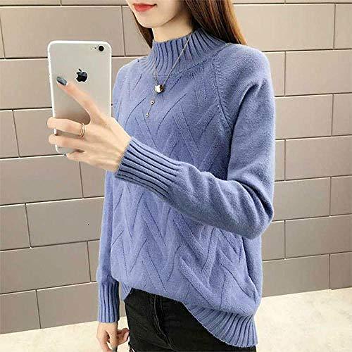 JFHGNJ Fall Winter Pullover Sweater Vrouwen Lange mouwen Coltrui Vrouw Geel Blauw Groen Warm Jumper-Blue_XL