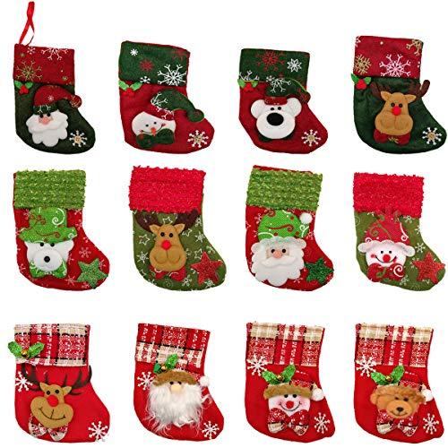 jenich 12 Stück Weihnachtsanhänger Weihnachtsstrumpf Nikolausstiefel zum Befüllen Weihnachtsdeko Bestecktasche Besteckhalter Weihnachtsbaumschmuck Hängende Strümpfe auf Kamin Schaufenster
