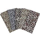 5 Telas de Leopardo de Cuarto de Grasa de 45 x 45 cm Tela de Algodón con Estampado de Leopardo Manojos Cuadrados de Acolchado Tela de Algodón de Leopardo Surtido para Patchwork Hechas a Mano