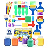 Glokers Early Learning Kids Paint Set, 28 Piece Mini Flower Sponge Paint Brushes. Assorted Painting Drawing...