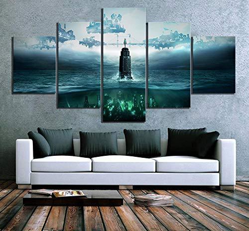 LIVELJ 5 pièces HD Fantasy Art Style Steampunk Photos Bioshock La Collection Jeu Vidéo Affiche Toile Peintures pour Décoration Murale/Encadrée Cadeau de Noel