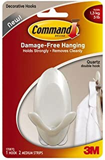 Command 17087Q Medium Double Hook Quartz with 1 Hook/2 Strips