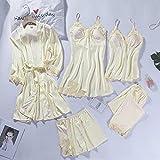 Encaje Patchwork 5PCS Ropa de Dormir Camisón Kimono Albornoz Vestido de satén Dama Camisón Traje Ropa Sexy para el hogar Bata de Boda Blanca-Robe Set 2-1-L