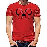 Hora de Aventuras Camiseta Hombre Jake el Perro Manga Corta Camiseta Clásica Cortar Cuello Redondo - Rojo, XL