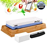 AivaToba Whetstone Knife Sharpening Stone Dual Side Grit 1000/6000 Whetstone with Angle Guide,...