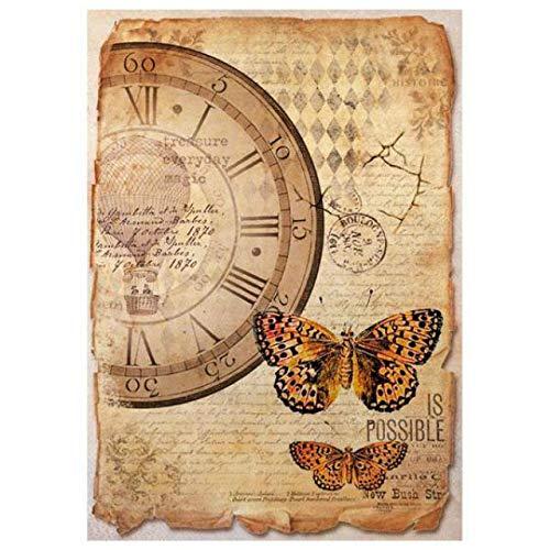 Stamperia Papel de Arroz Mariposas, 21 X 29.7 Cm, Multicolor