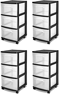 STERILITE 3-Drawer Storage Cart, Clear with Black Frame (4-Pack) | 4 x 28309002