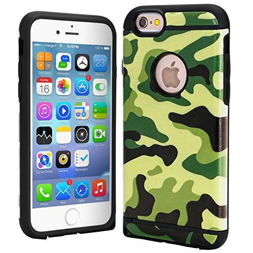 FDTCYDS Funda para iPhone 7, doble capa híbrida de camuflaje para Apple iPhone 7, color verde camuflaje