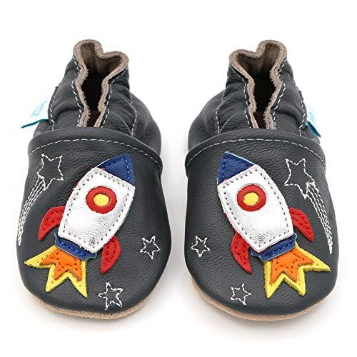 Dotty Fish weiche Leder Babyschuhe mit rutschfesten Wildledersohlen. 2-3 Jahre (25 EU). Dunkelgrauer Schuh mit silbernem Raumraketenmotiv. Kleinkind Schuhe.