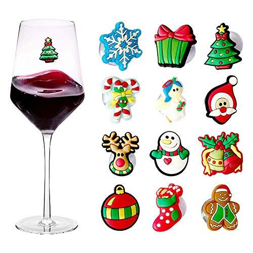 12 ciondoli natalizi per calici da vino con ventosa, per bicchieri da vino o senza stelo, accessori per vino, regali per hostess e calza di Natale