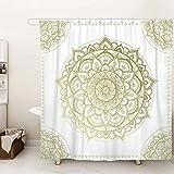 SUMGAR Mandala Art - Cortina de ducha con diseño de flores, color dorado y...