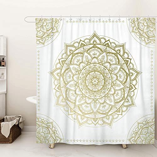 SUMGAR Mandala Art Duschvorhang Gold und Beige Blumenmuster Badezimmer Vorhänge Indisch Boho Floral Geometrisch Modern Badvorhänge Polyester Wasserdicht mit 12 weißen Vorhangringen, 180 x 180 cm