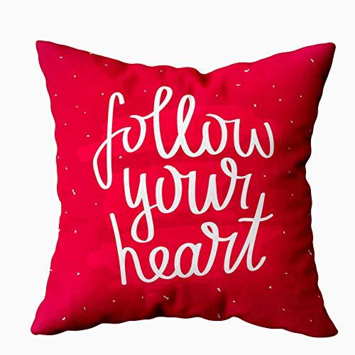 Fodere per cuscini Cuscino per la casa Morbido divano per la casa Federe per cuscini decorativi Citazione Douecilsh Segui il tuo cuore Trendy Modern Scarlet Background Double Printed, Green Yellow