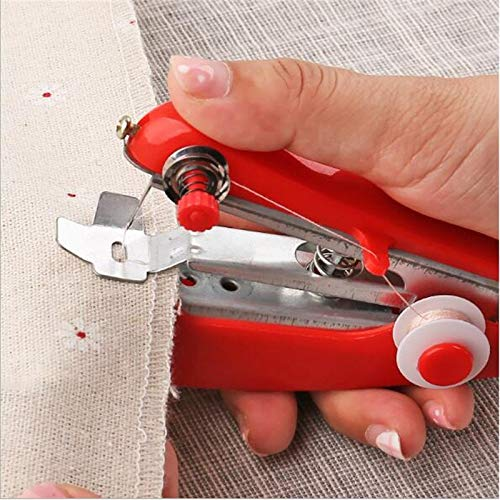 Naaimachines 1Pc Red Mini Naaimachines Needlework Cordless Kleding Portable Naaimachines Handwork Gereedschap Accessoires ZHQHYQHHX