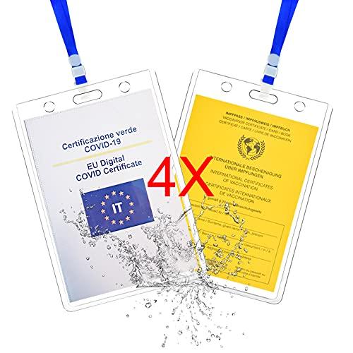Impfpass Hülle,4X Schutzhülle für 93 * 130mm impfpass erwachsene -Transparent und Hartplastik -Mit Lanyard,Klarsichthülle Impfpasshülle. (4X)