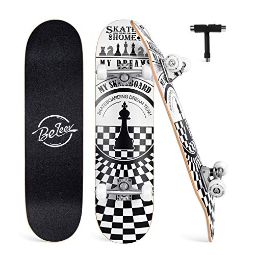 BELEEV Skateboard Erwachsene 31x8 Zoll Komplette Cruiser Skateboard für Kinder Jugendliche Anfänger, 7-Lagiger Kanadischer Ahorn Double Kick Deck Concave mit All-in-one Skate T-Tool(Weiß)