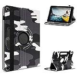 UC-Express Tablet Hülle kompatibel für Medion LifeTab P10612 P10610 P10606 P10603 P10602 P9701 Tasche Schutzhülle Camouflage Schwarz-Weiß Hülle Cover 360 Drehbar