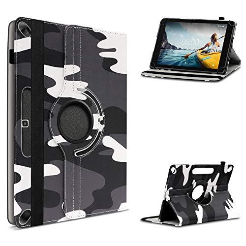 UC-Express Tablet Hülle kompatibel für Medion LifeTab P10612 P10610 P10606 P10603 P10602 P9701 Tasche Schutzhülle Camouflage Schwarz-Weiß Case Cover 360 Drehbar