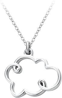 SENFAI Small Cloud Pendant Necklace Silver Lining Rain Cloud Necklace Nature Inspired Women Necklaces & Pendants