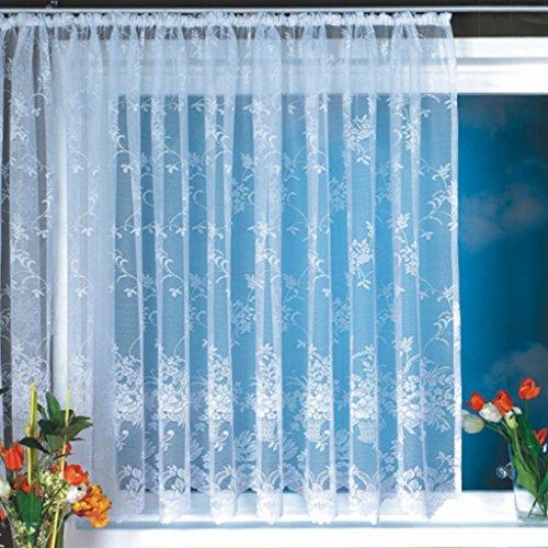 Yujiao Mao 1er-Pack Gardine, weiß Vorhang aus hochwertigem Jacquardstore mit transparentem Oberstoff Bogengardine,#1, B/H 300/175cm