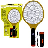 Koramzi Electric Mosquito Swatter/Bug Zapper with Rechargable Battery, Handle Light, and Removable Flashlight Insect Control- F-10(Newest Model) (Yellow)