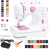 Best Choice Products Compact Sewing Machine, 42-Piece Beginners Kit, Multifunctional Portable 6V Beginner Sewing Machine w/ 12 Stitch Patterns, Light, Foot Pedal, Storage Drawer - Pink/White