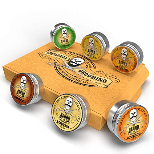 Cire à Moustache Collection 6 Boîtes X 15ml - Bois de Cèdre,Whisky On The Rocks,Orange Douce,Eucalyptus,Citronnelle et Original Lo-Scent. pour Styling Twists,Points & Boucles - Beard And Wonderful